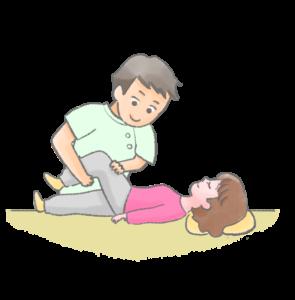 産後の骨盤矯正を受ける女性のイラスト