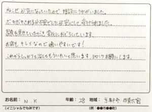 猫背矯正 京都市 四条大宮 20代 N.K様の患者様の声